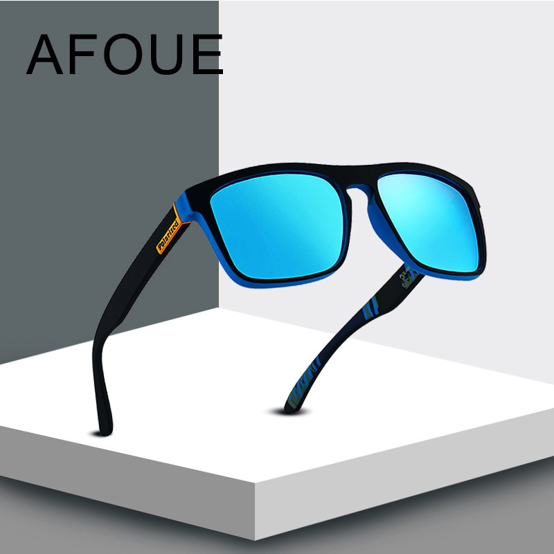 AFOUE BRAND DESIGN Polarized Sunglasses Men Square Frame Sun Glasses For Women Vintage Retro Goggles Eyewear Gafas UV400