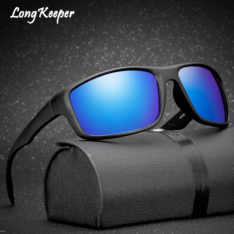 Men Classic Polarized Sunglasses Male Eyewear Driving Rectangle Mirror Sun Glasses 100% UV Protection Gafas By Long Keeper 1026