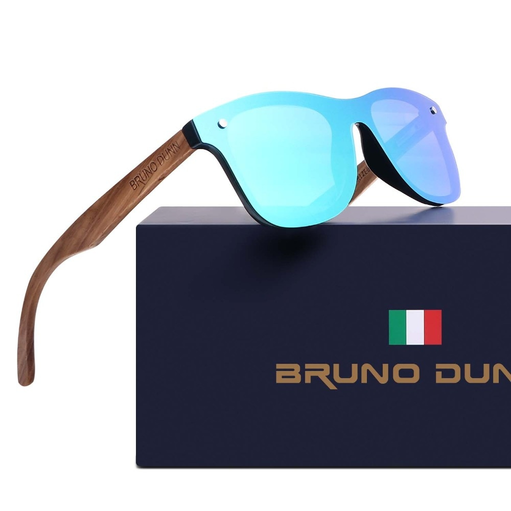 Bruno Dunn Wood bamboo Retro Unisex Sunglasses Polarized Luxury Brand Designer rimless mirror Sunglases Oculos Ray for Women/Men