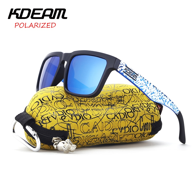 KDEAM 2017 Classical Sport Sunglasses Men polarized Square Sun Glasses Blue frame & Snow Design With Original Case KD901P-C20