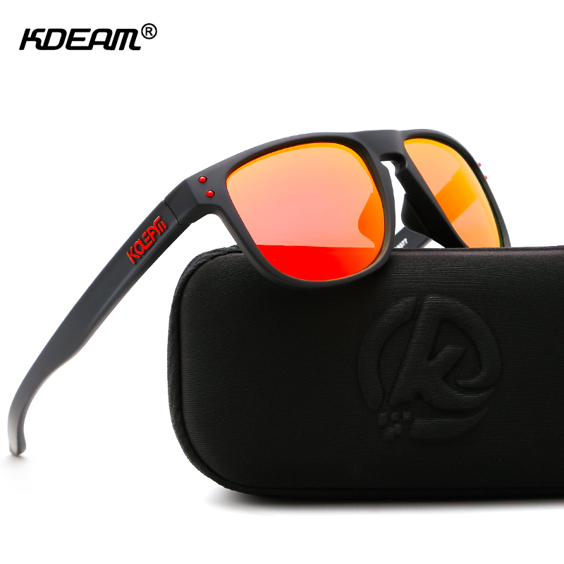 KDEAM High Definition TR90 Sunglasses Polarized Sport Sun Glasses Men Polaroid Lens Athletes' Choice With Case
