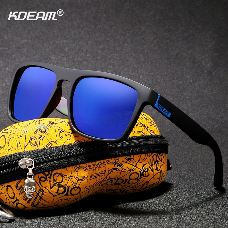 KDEAM Outdoor Polarized Sunglasses For Men Women Brand Designer Sun Glasses Square polarizadas With Hard Zipper Case