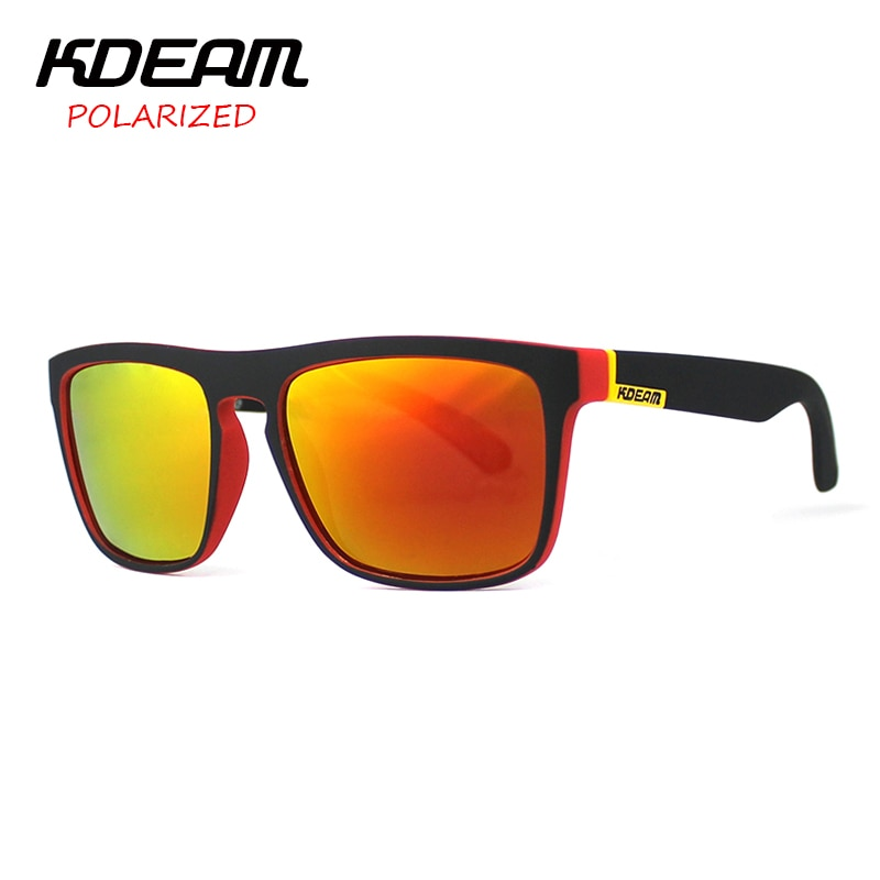 KDEAM Polarized Sunglasses Men Sport Eyewear Brand Designer Driving Oculos De Sol Reflective Coating UV400 With Case KD156