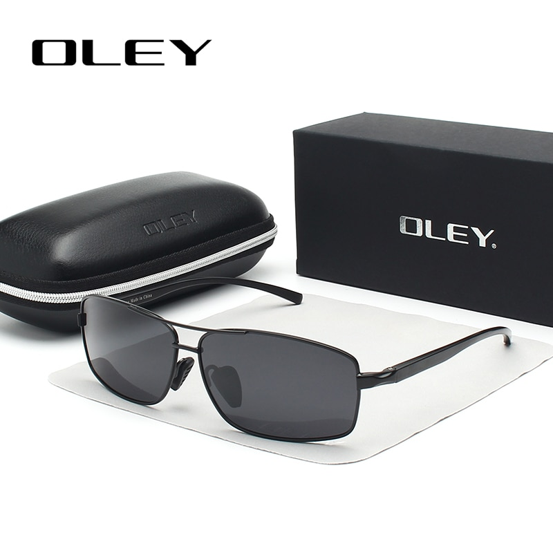 OLEY Men Polarized Sunglasses Aluminum Magnesium Sun Glasses Driving Glasses Rectangle Shades For Men Oculos masculino Male