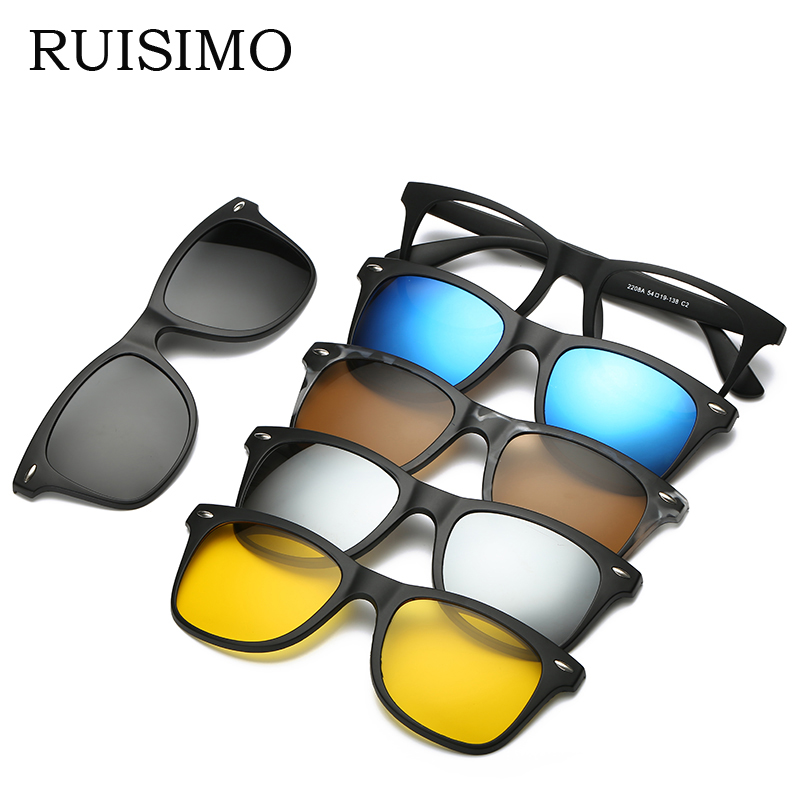 RUISIMO 5 lenes Magnet Sunglasses Clip Mirrored Clip on Sunglasses clip on glasses Men Polarized Clip Custom Prescription Myopia