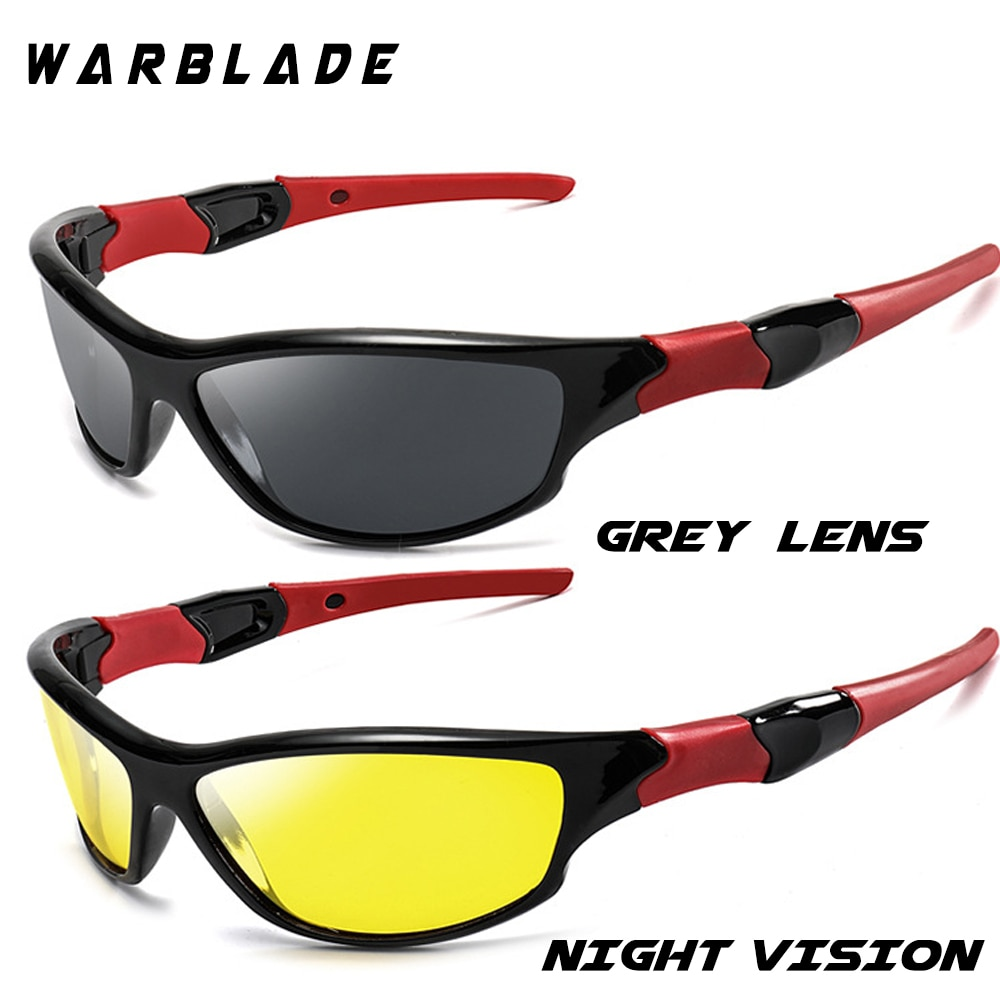 WarBLade Night Vision Sunglasses Men Goggles Glasses UV400 Sun Glasses Yellow Lens HD Polarized Night Driving Gafes W1036