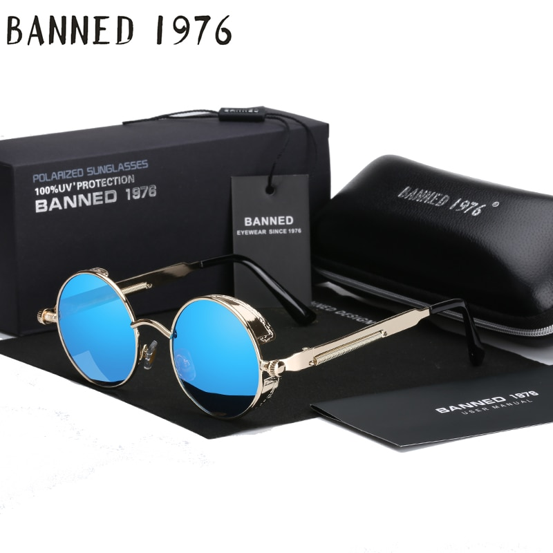 2018 Retro Round Metal HD Polarized Punk Steampunk Sunglasses For Women Men,Vintage Sun Glasses oculos de sol feminino masculino