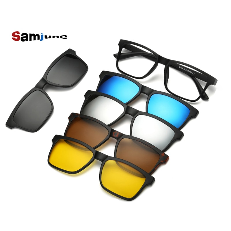 5 lenes Magnet Sunglasses Clip Mirrored Clip on Sunglasses clip on glasses Men Polarized Clips Custom Prescription Myopia