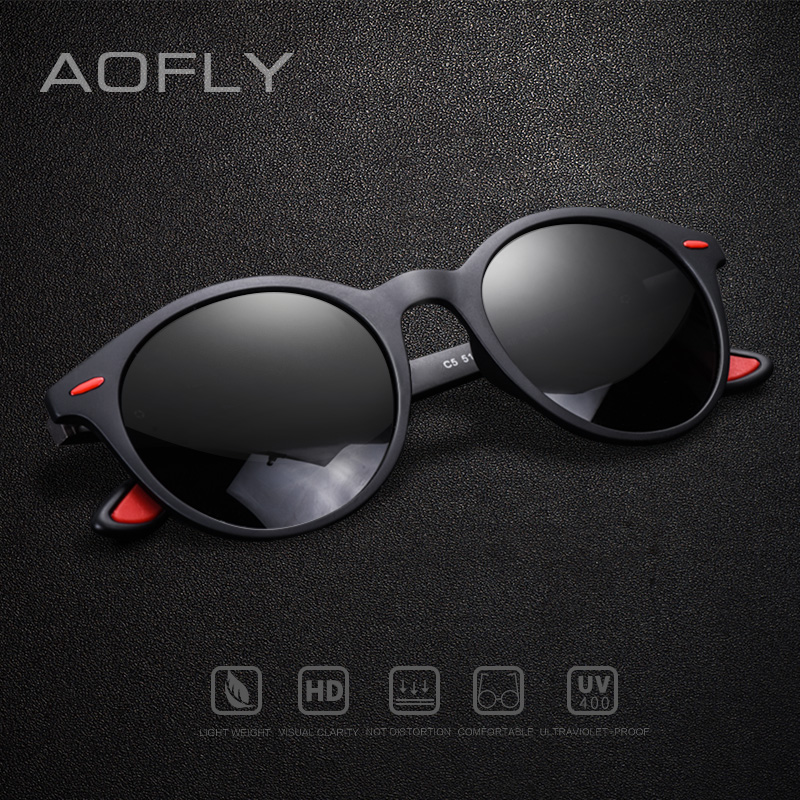 AOFLY BRAND DESIGN Men Sunglasses Polarized Oval Frame Sunglasses Women Men Vintage Unisex Goggles Oculos De Sol AF8112