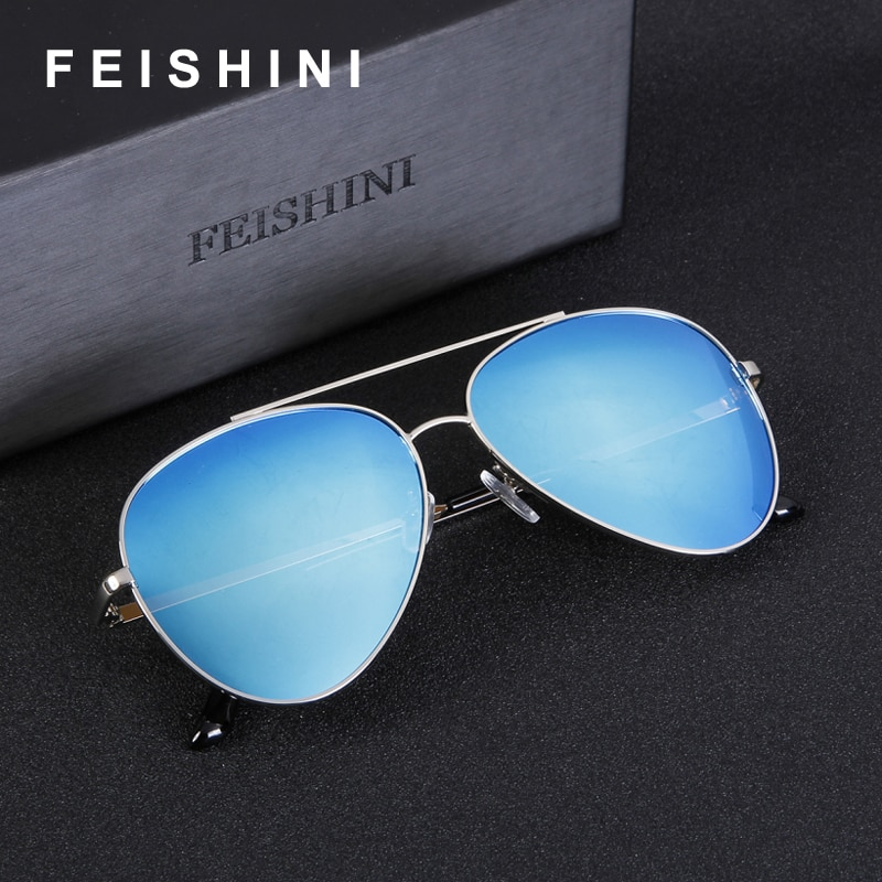 FEISHINI Classic Oculos De Sol Feminino Fashion Reflective UV Glare Colored Aviation Women Black Sunglasses Men Polarized UV400