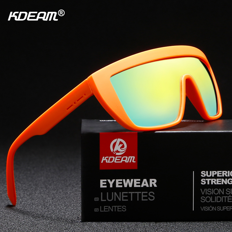 KDEAM One-piece Polarized Sunglasses Men Oversized Shield Sun Glasses Sport masculino With Brand Box