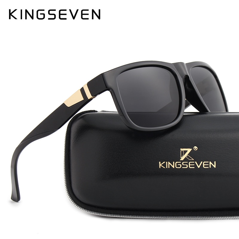 KINGSEVEN BRAND DESIGN Men's Polarized Sunglasses Vintage Square Style Classic Male Sun Glasses Retro Gafas UV400