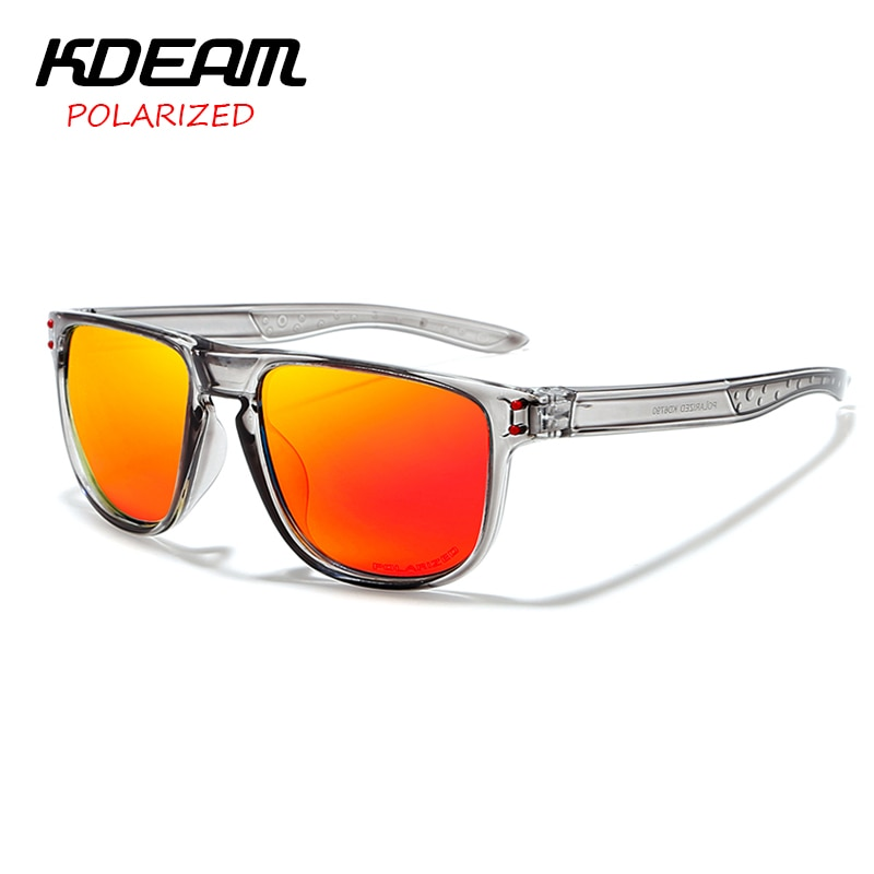 Non-slip Design New Arrival Men Sport Sunglasses Polarized Eyewear Women UV400 zonnebril mirror With Case KDEAM KD6790
