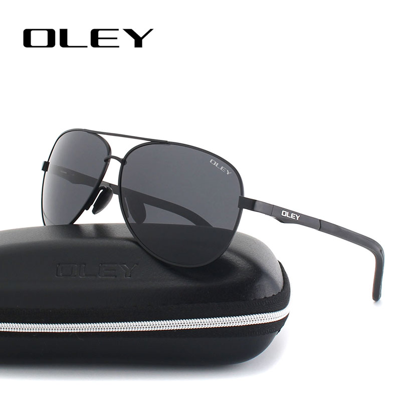 OLEY Unisex polarized Sunglasses Men luxury brand Women Retro pilot Sun Glasses Classic HD black lens polaroid UV400 Y109