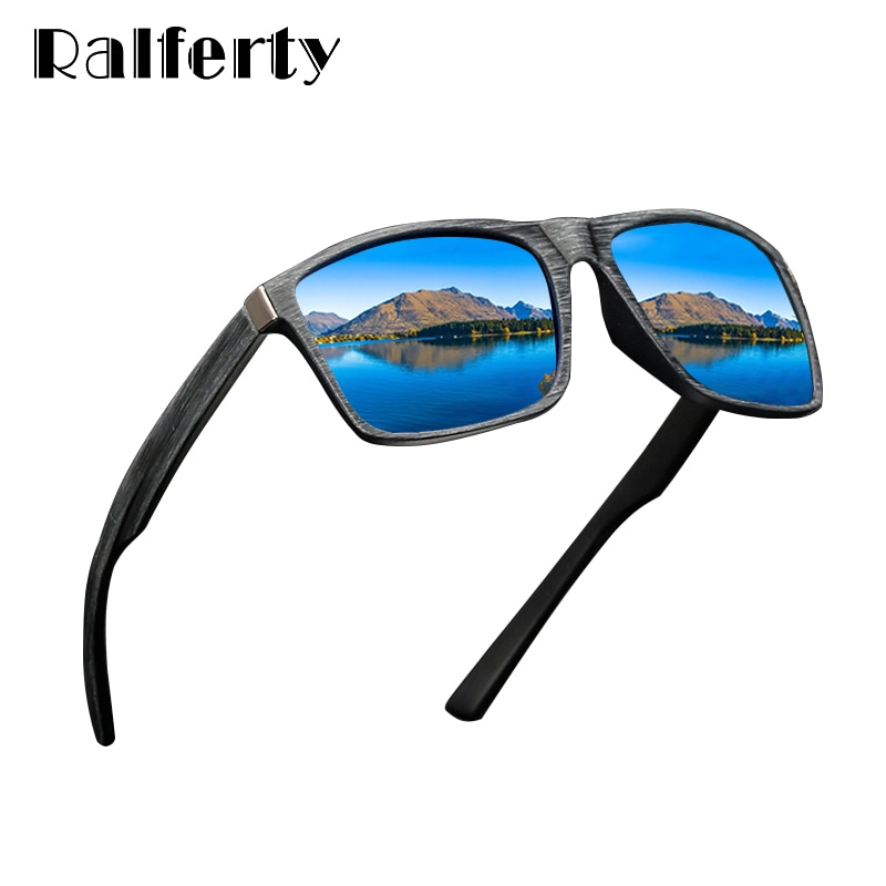 Ralferty HD Polarized Sunglasses Men Driving Fishing Sport Goggles UV400 Retro Square Sun Glasses For Men Imitation Wood K1046