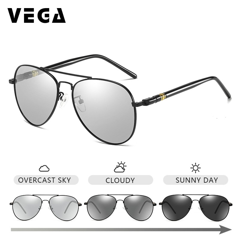 VEGA Women Mens Photochromic Sunglasses Polarized Photochromic Pilot Sunglasses Light Adjusting Glasses Change In Sunlight 229